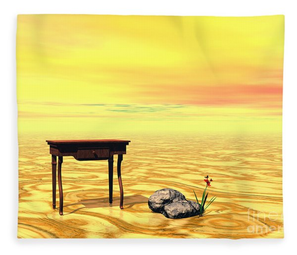 Fleece Blanket featuring the digital art Meeting On Plain - Surrealism by Sipo Liimatainen