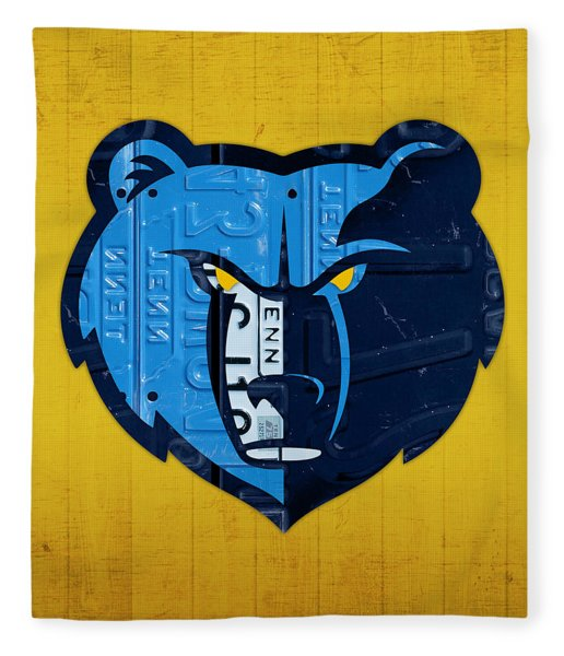 Memphis Grizzlies Basketball Team Retro Logo Vintage Recycled Tennessee License Plate Art Fleece Blanket