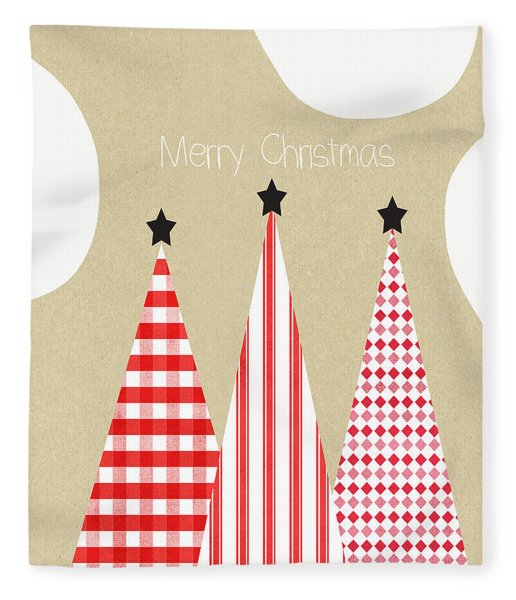 Merry Christmas With Red And White Trees Fleece Blanket