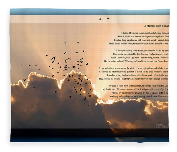 Fleece Blanket featuring the photograph Message From Heaven by Carolyn Marshall