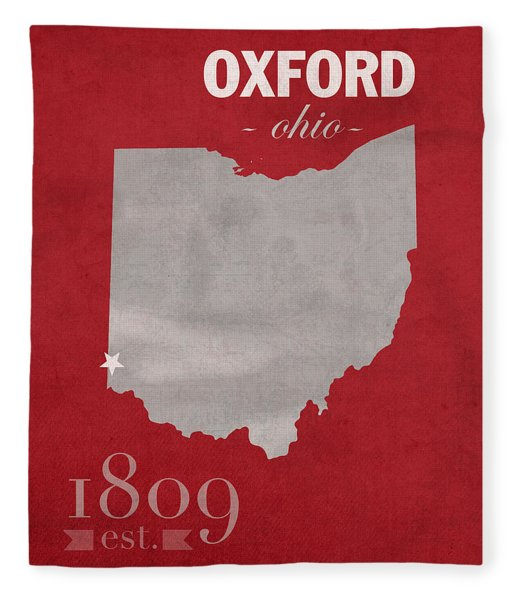 Miami University Of Ohio Redhawks Oxford College Town State Map Poster Series No 064 Fleece Blanket