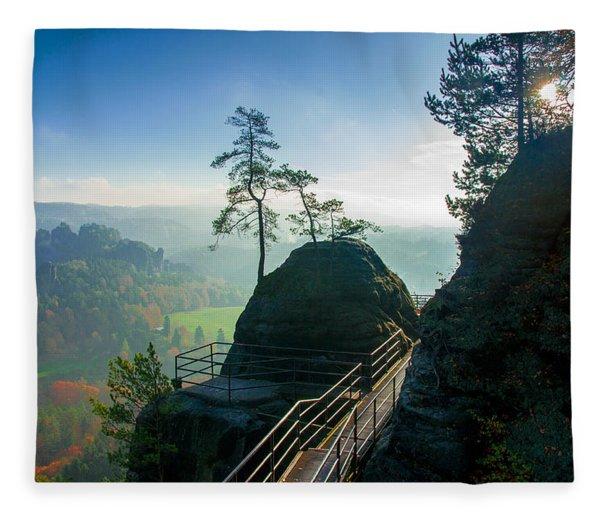Misty Sunrise On Neurathen Castle Fleece Blanket