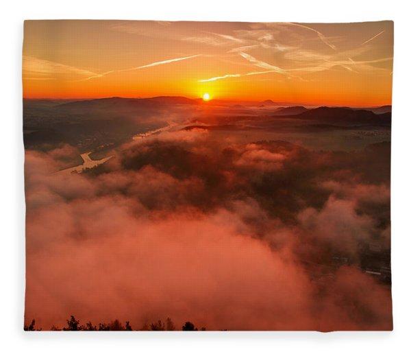 Misty Sunrise On The Lilienstein Fleece Blanket