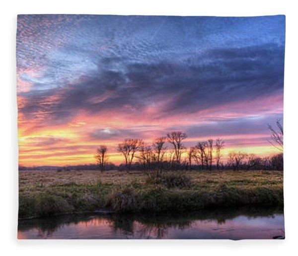 Mitchell Park Sunset Panorama Fleece Blanket