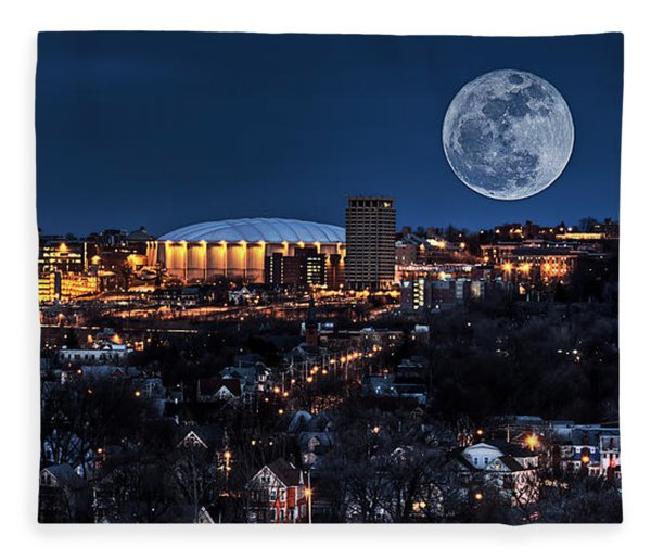 Moon Over The Carrier Dome Fleece Blanket