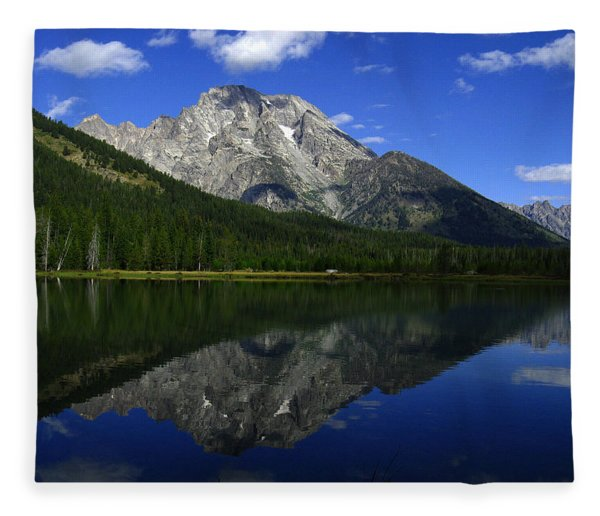 Fleece Blanket featuring the photograph Mount Moran And String Lake by Raymond Salani III