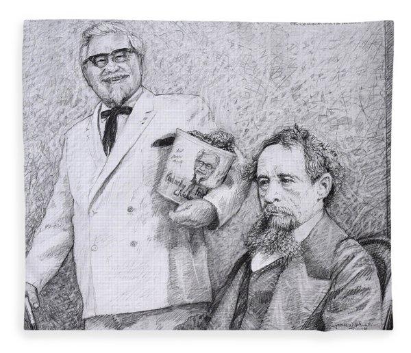 Mr Chicken And Mr Dickens Fleece Blanket
