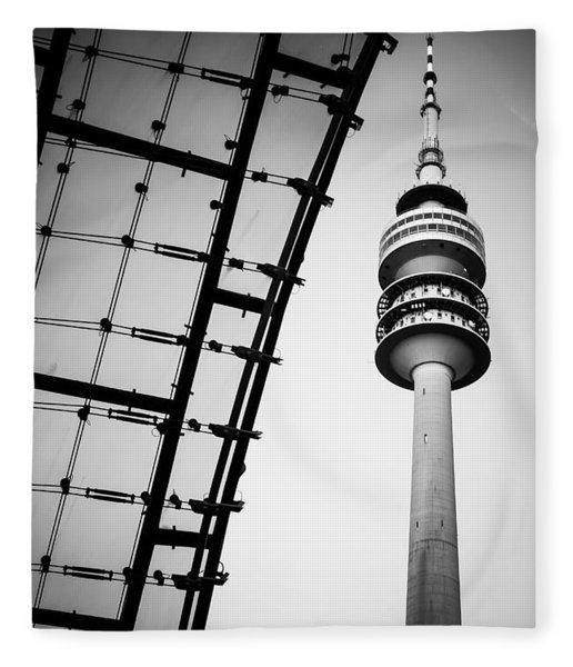 Munich - Olympiaturm And The Roof - Bw Fleece Blanket