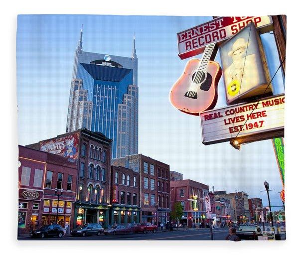 Fleece Blanket featuring the photograph Music City Usa by Brian Jannsen