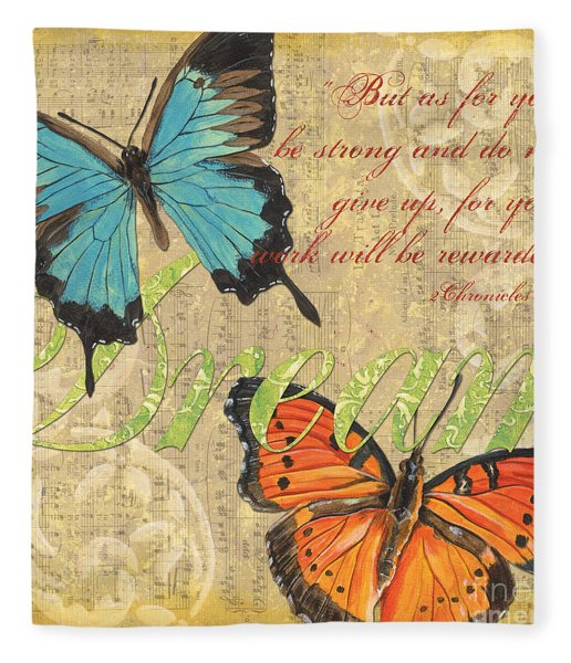 Musical Butterflies 1 Fleece Blanket