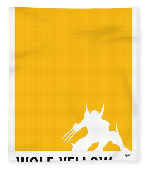 My Superhero 05 Wolf Yellow Minimal Poster Fleece Blanket