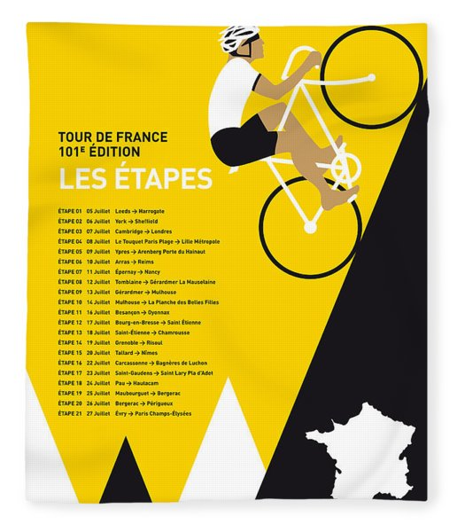 My Tour De France Minimal Poster 2014-etapes Fleece Blanket