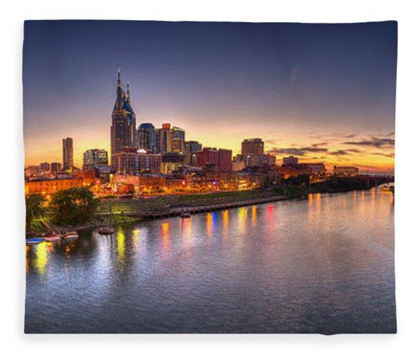 Nashville Skyline Panorama Fleece Blanket