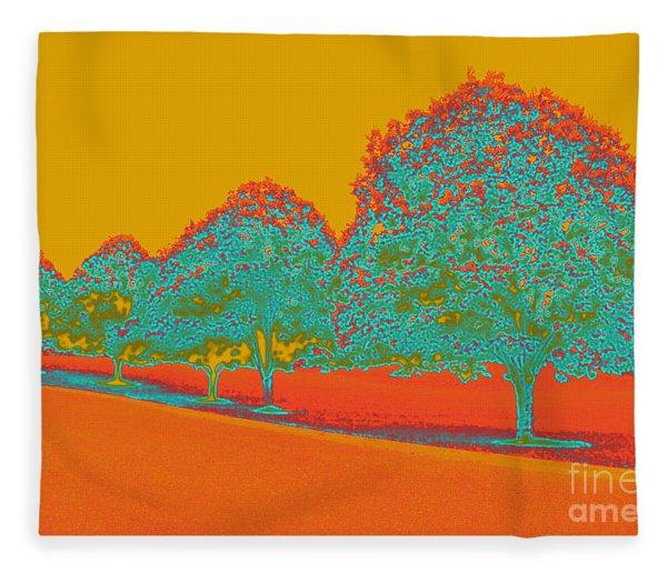 Neon Trees In The Fall Fleece Blanket
