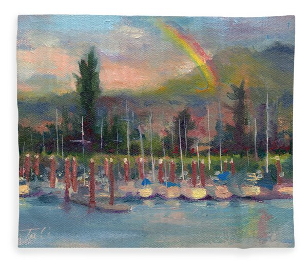 New Covenant - Rainbow Over Marina Fleece Blanket