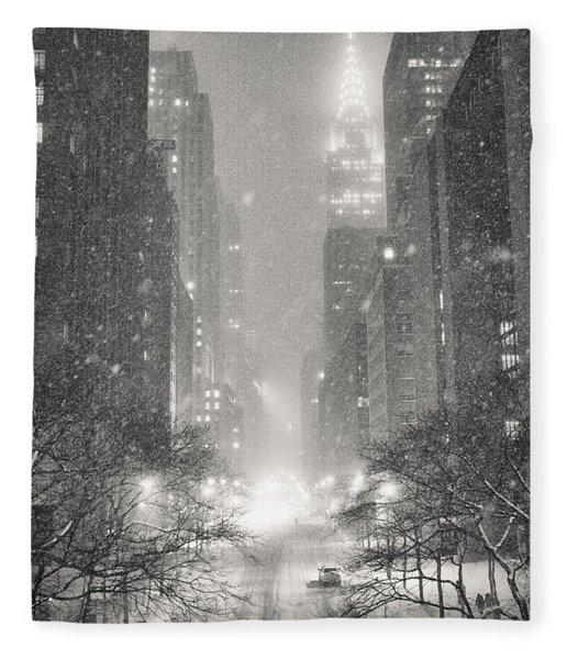 New York City - Winter Night Overlooking The Chrysler Building Fleece Blanket