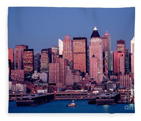 New York Skyline At Dusk Fleece Blanket
