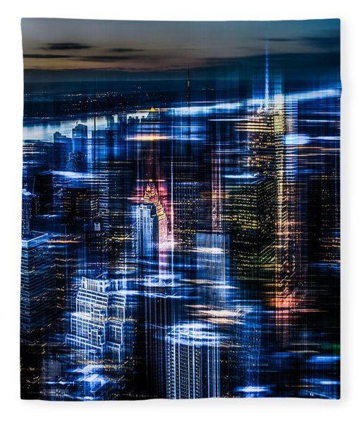 New York - The Night Awakes - Blue I Fleece Blanket