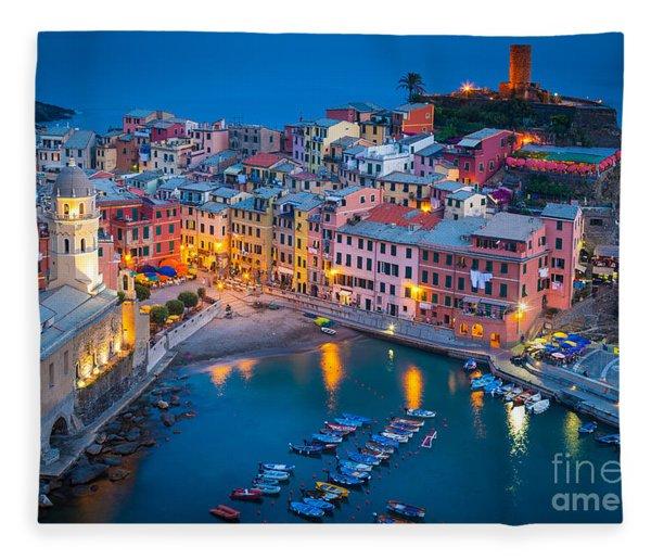 Night In Vernazza Fleece Blanket
