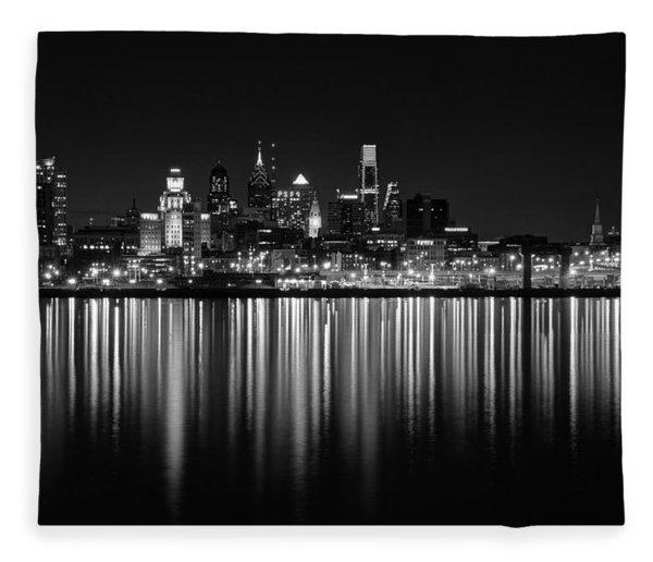 Nightfall In Philly B/w Fleece Blanket