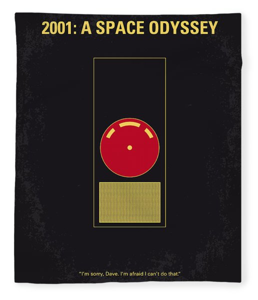 No003 My 2001 A Space Odyssey 2000 Minimal Movie Poster Fleece Blanket