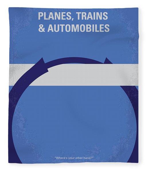 No376 My Planes Trains And Automobiles Minimal Movie Poster Fleece Blanket