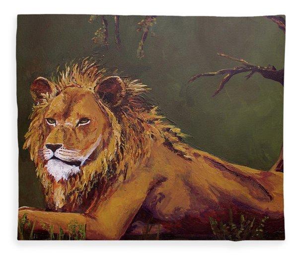 Noble Guardian - Lion Fleece Blanket