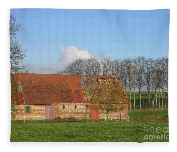 Normandy Storm Damaged Barn Fleece Blanket