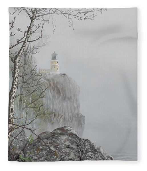 North Shore Lighthouse In The Fog Fleece Blanket