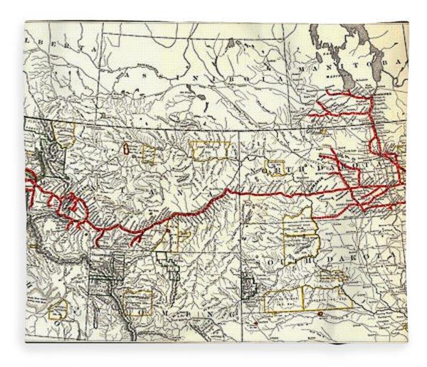 Northern Pacific Railway Map  1900 Fleece Blanket
