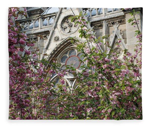 Notre Dame In April Fleece Blanket