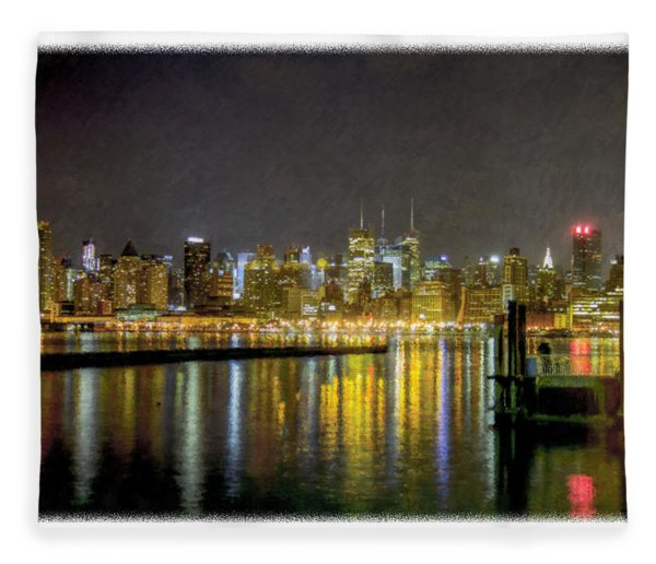Nyc At Night Faux Oil Fleece Blanket