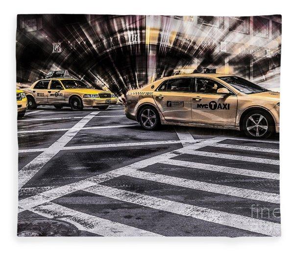 Nyc Yellow Cab On 5th Street - White Fleece Blanket