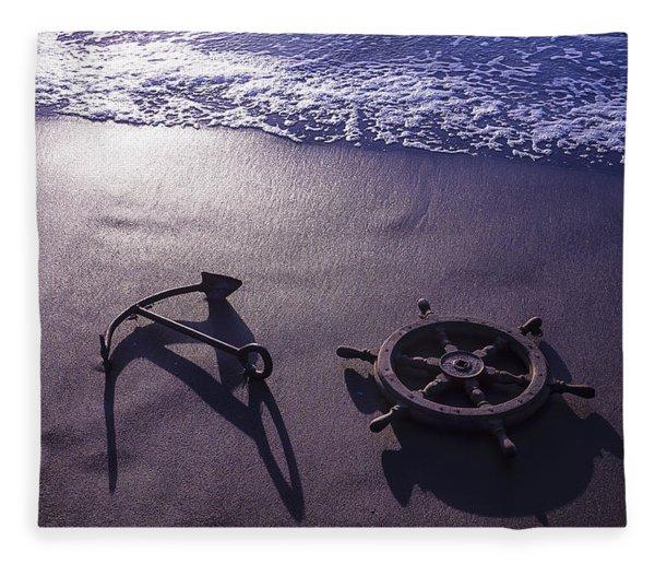 Ocean Beach Anchor Fleece Blanket