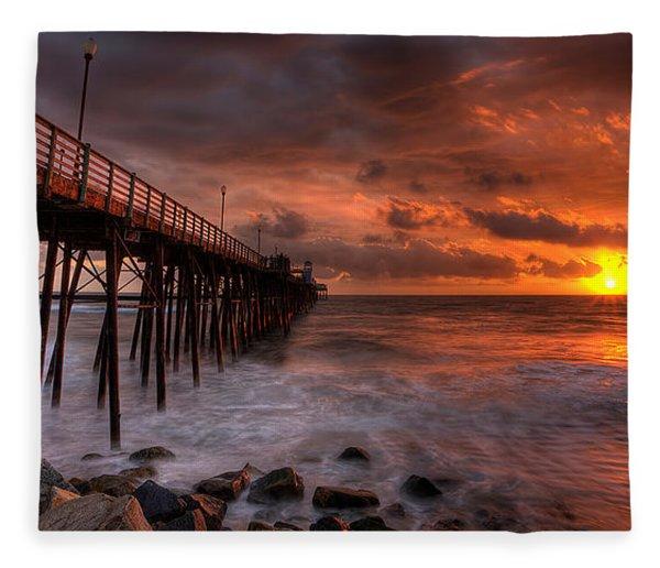 Oceanside Pier Perfect Sunset -ex-lrg Wide Screen Fleece Blanket