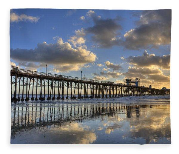 Oceanside Pier Sunset Reflection Fleece Blanket