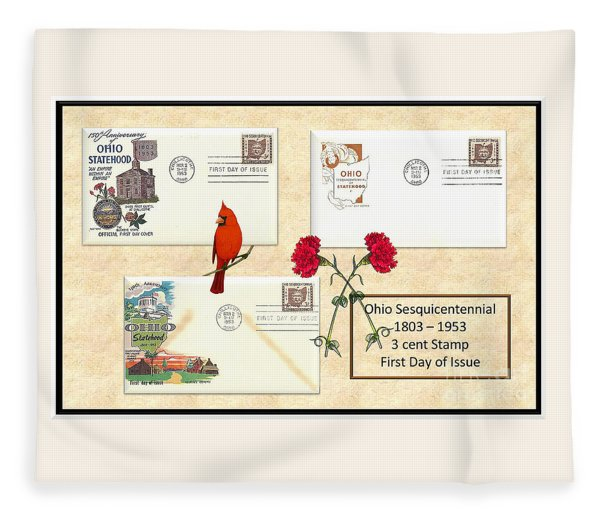 Ohio Sesquicentennial First Day Covers Fleece Blanket
