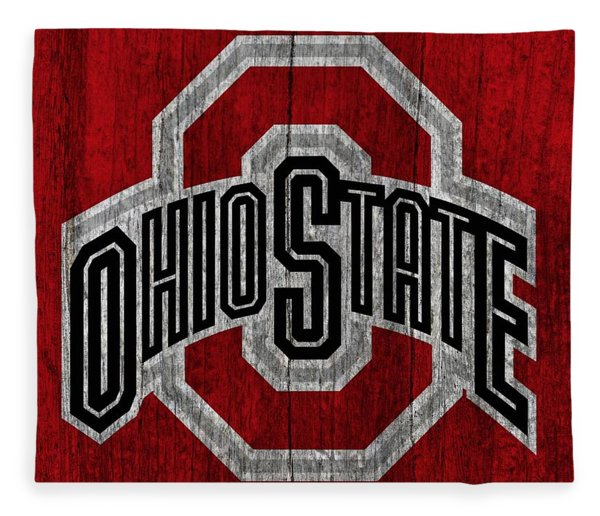 Ohio State University On Worn Wood Fleece Blanket