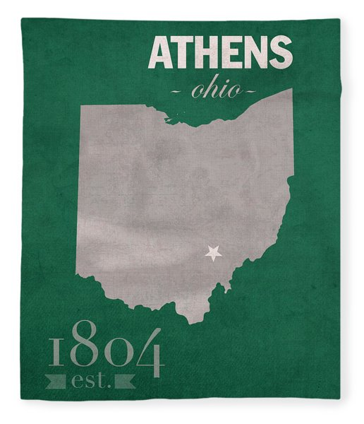 Ohio University Athens Bobcats College Town State Map Poster Series No 082 Fleece Blanket