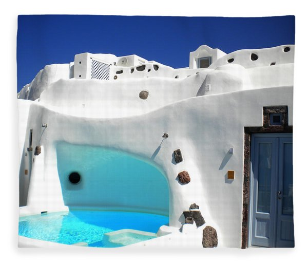 Fleece Blanket featuring the photograph Oia Santorini  With Direct View To The Oceon Greece by Colette V Hera  Guggenheim