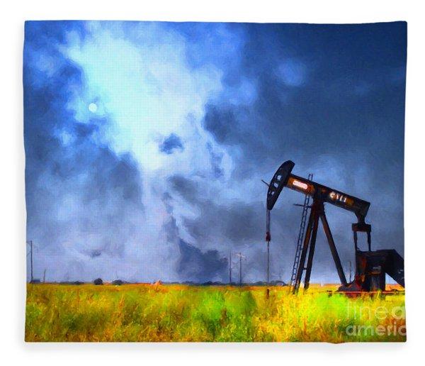 Oil Pump Field Fleece Blanket