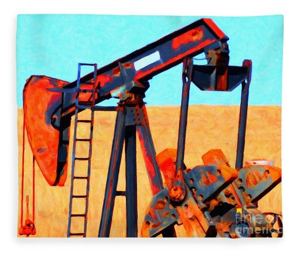 Oil Pump - Painterly Fleece Blanket