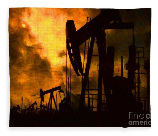 Oil Pumps Fleece Blanket