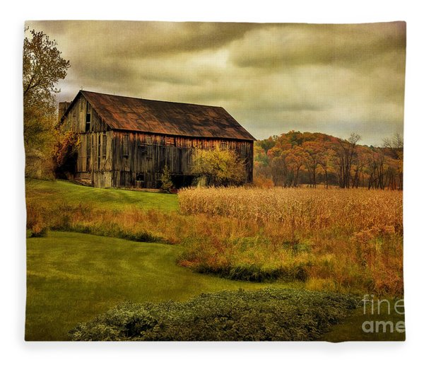 Old Barn In October Fleece Blanket