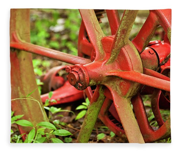 Fleece Blanket featuring the photograph Old Farm Tractor Wheel by Carolyn Marshall
