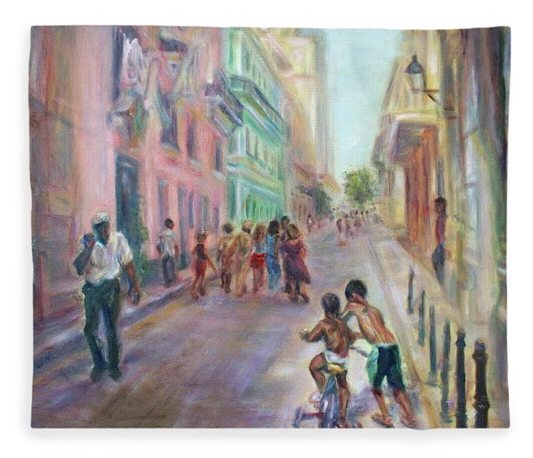 Old Havana Street Life - Sale - Large Scenic Cityscape Painting Fleece Blanket
