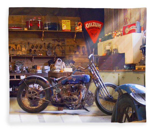Old Motorcycle Shop 2 Fleece Blanket
