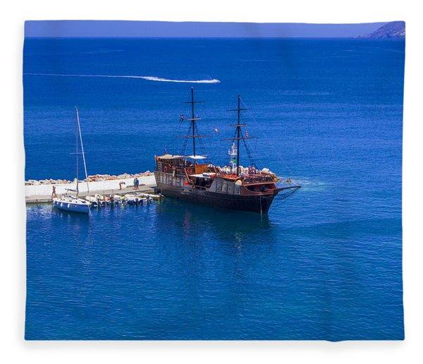 Old Sailing Ship In Bali Fleece Blanket