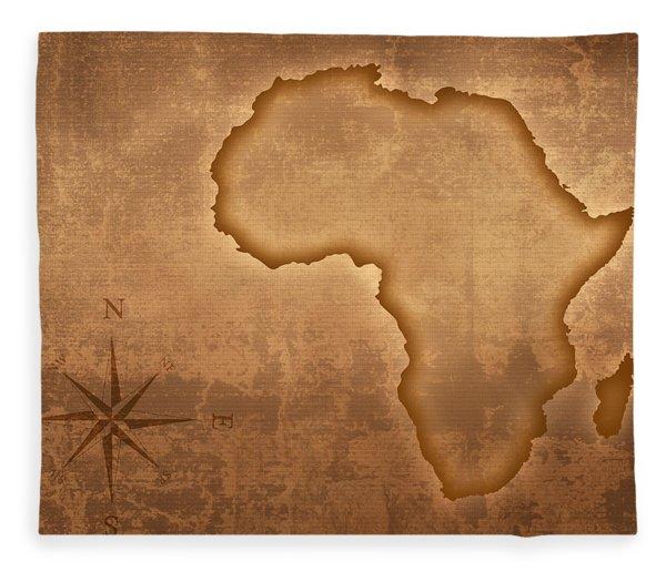 Old Style Africa Map Fleece Blanket
