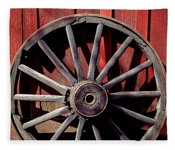 Old Wagon Wheel Fleece Blanket